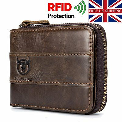 Mens Wallet Genuine Leather RFID Blocking Zipped Bifold Purse with Coin Pocket