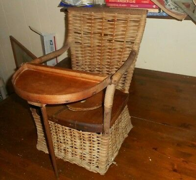 Antique Wood with Cane/Wicker Child's Potty Training Chair
