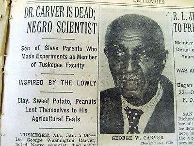 1943 NY Times newspaper DEATH African-American inventor GEORGE WASHINGTON CARVER