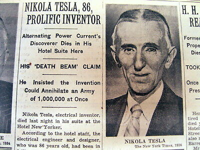 2 1943 NY Times newspapers DEATH of NIKOLA TESLA - inventor & rival ofTOM EDISON