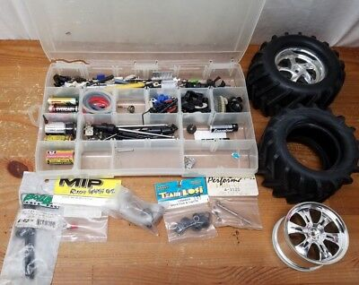 BIG LOT OF HPI Losi Tamiya RC Car Chassis Parts Wheels Tires rods gears  Nitro