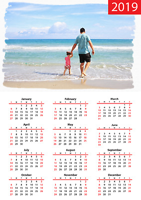 A4 calendar 2019 Personalised single page 2019 your picture logo personal gift