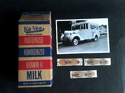 Ka-Vee Half Gallon Milk Carton Container Belleville Lewistown Pa + Pic & Spoons