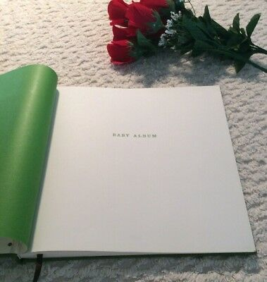 KATE SPADE BABY KEEPSAKE BOOK GREEN LEATHER BLANK SCRAPBOOK Has Flaws Ant