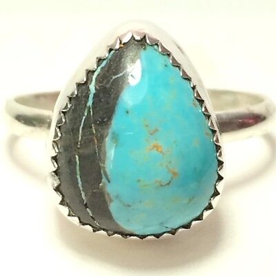 16 Ct TW Untreated Royston Ribbon Turquoise Handmade Jewelry Silversmith Ring