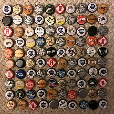 Beer Bottle Caps, 100, No Dents, Carefully Removed, Nice Assortment