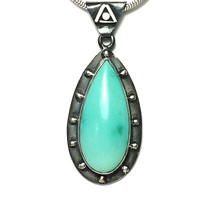 36 Ct Tw Untreated Sleeping Beauty Turquoise Handmade Sterling Silver Pendant
