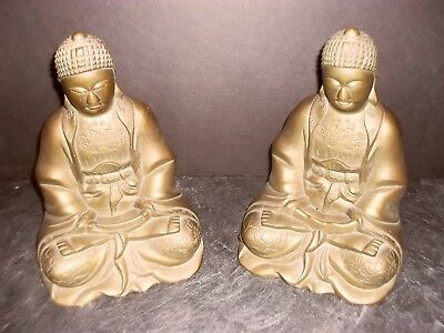 Two Vintage / Antique Large Brass Chinese Buddha Statues