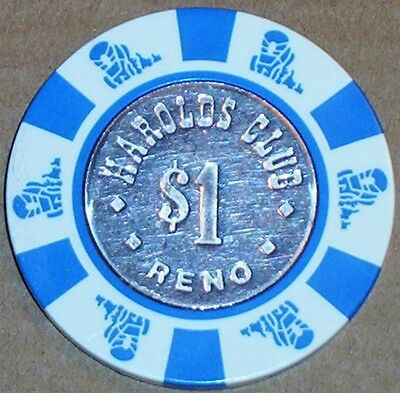 Old $1 HAROLDS CLUB Casino Poker Chip Vintage Antique House Mold Reno NV 1983
