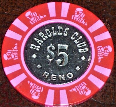 Old $5 HAROLDS CLUB Casino Poker Chip Vintage Antique House Mold Reno NV 1983