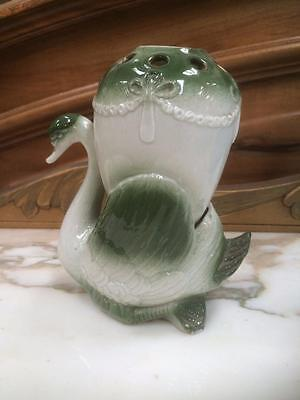 Antique Porcelain Green Swan Hat Pin Holder / Vase For Dressing Table