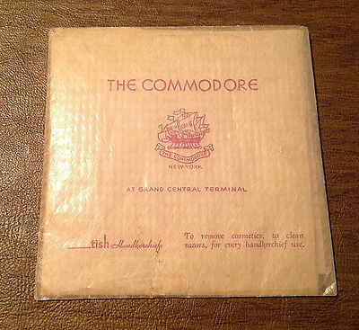 Vintage The Commodore Hotel at Grand Central Terminal NYC Handkerchief Souvenir