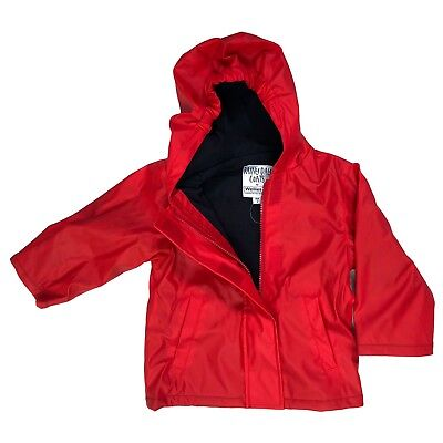Red Fleece Lined Unisex Kids Raincoat