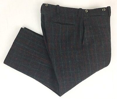 VTG Mens 38x26 Woolrich Malone Wool Plaid Hunting Pants/Trousers Bracer Buttons