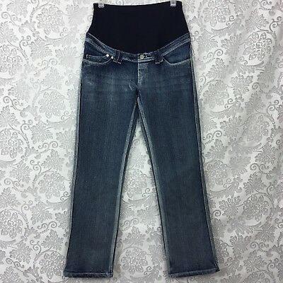 """Oh! Mama Maternity Jeans Small 28"""" Inseam Straight Leg Medium Wash Belly Band"""
