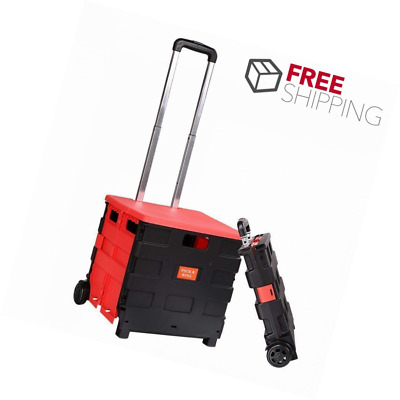 Folding Two-Wheeled Trolley Hand Cart Plastic Hefty Heavy Carry Shopping Travel