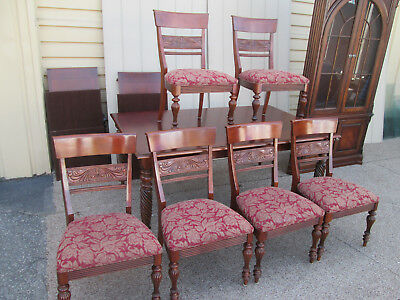 59041 ETHAN ALLEN Dining Table w/ 2 leafs + 6 Side chairs