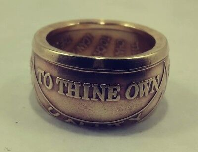 """Recovery  coin ring """"To Thine Own Self Be True"""" with adjustable chain, NA or AA"""