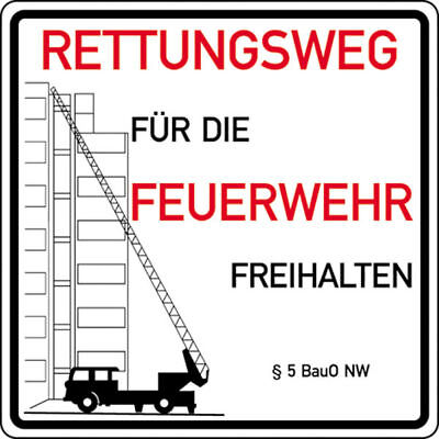Notice Sign for Fire Fighters » Rettungswege for Fire Fighters Freihalte S10284