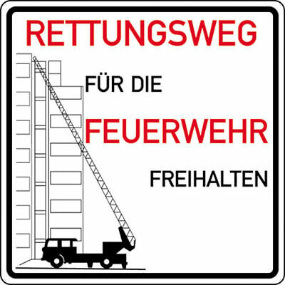 Notice Sign for Fire Fighters » Rettungswege for Fire Fighters Freihalte S10275