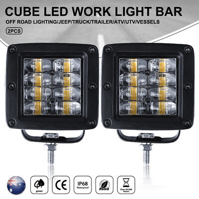2x 3inch CREE LED Lights Spot Beam Work Driving Light Bar Offroad Truck SUV Boat