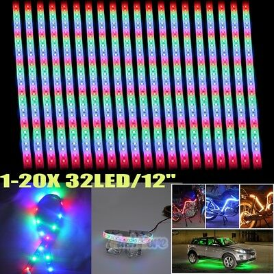 "20X RGB 32LED/12"" Flexible Light Strip for Car Boat Truck DRL Waterproof DC12V"