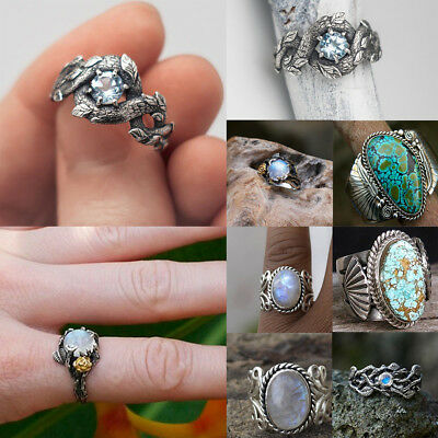 Vintage Women Men 925 Silver Ring Turquoise Wedding Engagement Party Sz 6-10 New