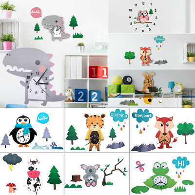 Large Watch Children Animal Shaped Wall Clock With Stickers Home Wall Decoration