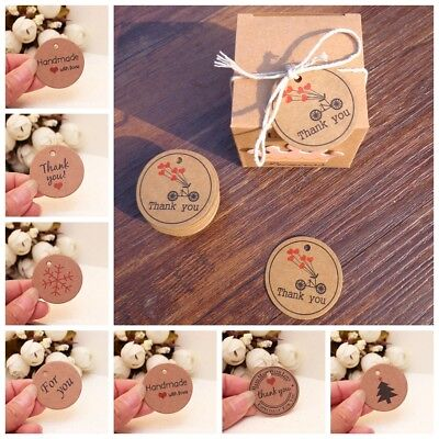 100pcs Thank you with Red Heart Kraft Gift Tags Paper Hang Tags Price Label~~