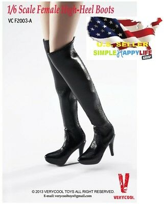 1/6 scale black knee high heels boots for phicen verycool kumik hot toys ❶USA❶