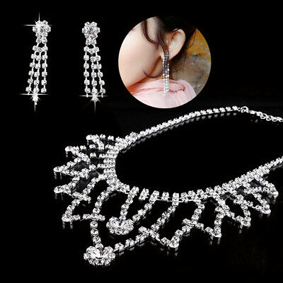 Fashion Wedding Bridal Party Crystal Pearl Necklace Earring Jewelry Decor Sets