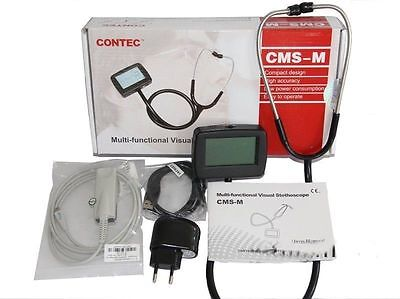 Visual Multi-Function Electronic Stethoscope,portable CMS-M,with SPO2 ECG Wave