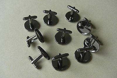 10 ROUND GUNMETAL CABOCHON SETTING CUFF LINKS BLANKS Fit 18mm dia