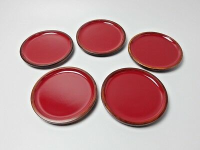 Japanese antique vintage red lacquer wood individual plate 5 pcs chacha