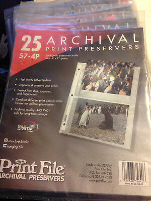 Print File 57-4P 5x7 Archival Print Preservers One Package (25). FREE SHIPPING !