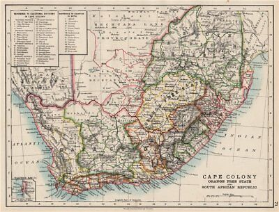 COLONIAL SOUTH AFRICA. Cape Colony. Orange Free State. SA Republic 1897 map