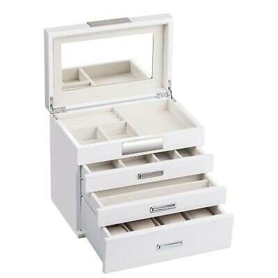 Large White Wooden Jewellery Box Rings Storage Organizer Case 5 Drawers Key