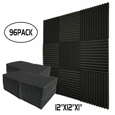 "96 Pack Acoustic Wedge Studio Foam Soundproofing Foam Wall Panels Tiles 1""X12X12"