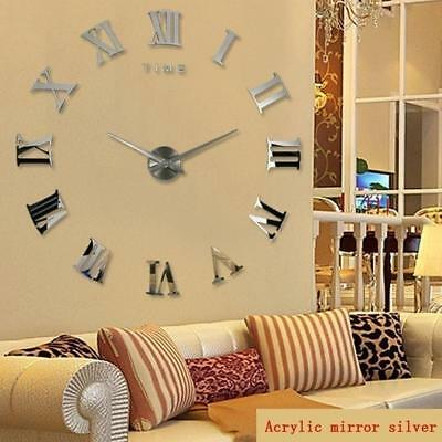 Large Wall Clock 3D Mirror Sticker DIY Big Watch Unique Numbers Art Home Decor.