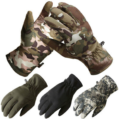 Tactical Thermal Fleece Lined Gloves Army Military Hunting Shooting Airsoft Camo