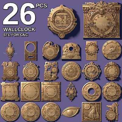 3d stl model cnc router artcam aspire 26 pcs wallclock clock pack basrelief