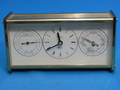 Fine Quality Heavy Brass Cased Rapport.london Desk Clock With Barom. & Therm.