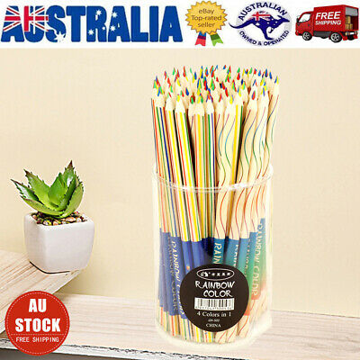 30X Rainbow Color Pencil 4 in 1 Colored Drawing Painting Pencils Pen School Kid