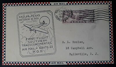RARE 1930 United States 1st Transcontinental Flight Cover ties 5c stamp Dallas