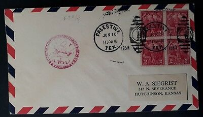 RARE 1933 United States Airmail Flight Cover ties 4 x2c stamps canc Palestine
