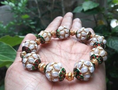 Afghan Synthetic Peal Brass Beads Islamic Bracelet  Stunning Beautiful