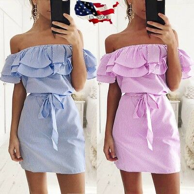 US Sexy Women Summer Beach Boho Striped Off Shoulder Ruffle Mini Dress With Belt
