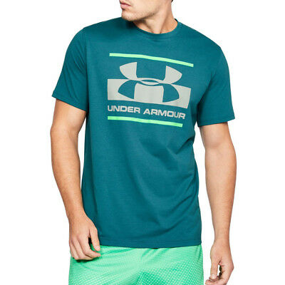 Under Armour Mens UA Blocked Sportstyle Logo T Shirt Tee Top Blue Sports Gym