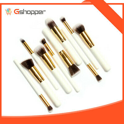 10pcs Wood Professional Make Up Brushes Cosmetic Beauty Starter Kit Black/Silver