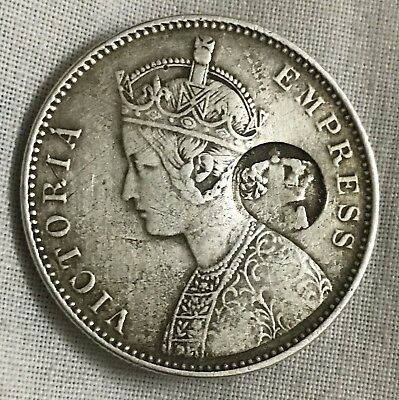 Portuguese Mozambique P M Counter Stamp On India Silver One Rupee 1879